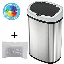 iTouchless 13 Gallon Oval Sensor Touchless Trash Can with Od