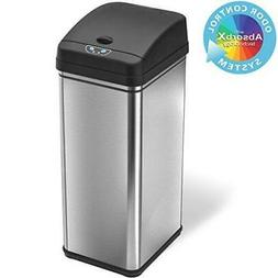 iTouchless 13 Gallon Stainless Steel Automatic Trash Can wit