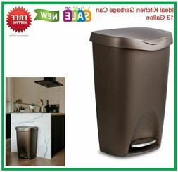 13 Gallon Trash Can Stainless Steel Foot Pedal  Bronze Brim