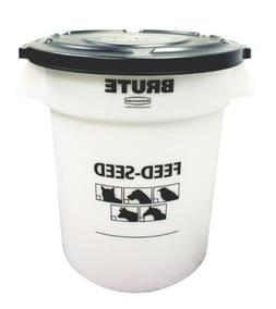 Rubbermaid 1868861 Brute Feed-Seed Round Trash Can With Lid,