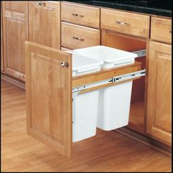 2 Pull Out Cabinet Waste Container Trash Can Bin Door Mount