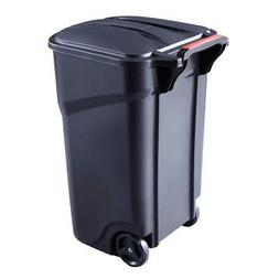 Rubbermaid 45 Gallon Trash Can with Lid Wheel Outdoor Garbag