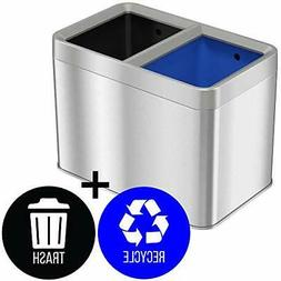 iTouchless 5.3 Gallon Open Top Trash Can & Recycle Bin Dual