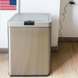 50L Trash Can Garbage Touchless Sensor Automatic Stainless T