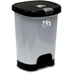 Hefty 7-Gallon Trash Can with Lid Lock and Bottom Cap New St