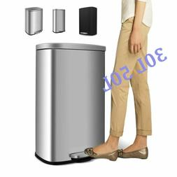 8 / 13 Gallon Kitchen Step Trash Can Stainless Steel Garbage