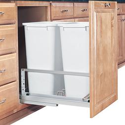 Rev-A-Shelf Double 50 Quart Pullout Waste Containers, Silver