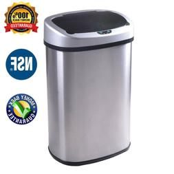 Auto Stainless-Steel Trash Can Touch-Free Sensor Kitchen Was