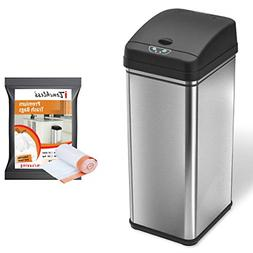 iTouchless Automatic Trash Can with 10 Trash Bags, Big Lid O