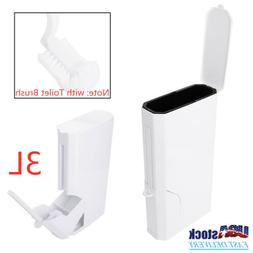 Bathroom Trash Can w/ Toilet Brush Cleaning Set Garbage Bin