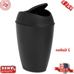 Umbra, Black Twirla, 2.2 Gallon Trash Can with Swing-top Lid
