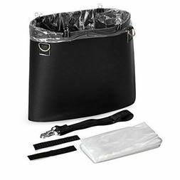 Car Trash Can, Black PU Leather, Trash Can for Travelling, O