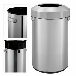 16 Gallon Stainless Steel Round Open Top Trashcan with Plast