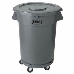 Commercial Trash Can with Lid and Dolly 32 Gallon Gray Round
