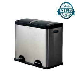 Dual Compartment Tall Trash Can and Recycling Bin with Lid 1