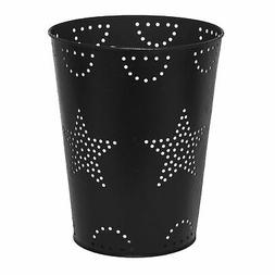 Farmhouse Bathroom Trash Can with Decorative, Punched Metal