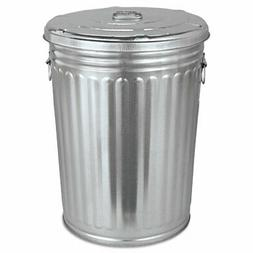 Magnolia Brush Pre-Galvanized Trash Can With Lid Round Steel