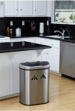 Kitchen Trash Can Stainless Steel Large Recycle Bin Combo To