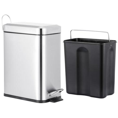 5L Stainless Can Pedal Wastebasket Ashcan Kitchen