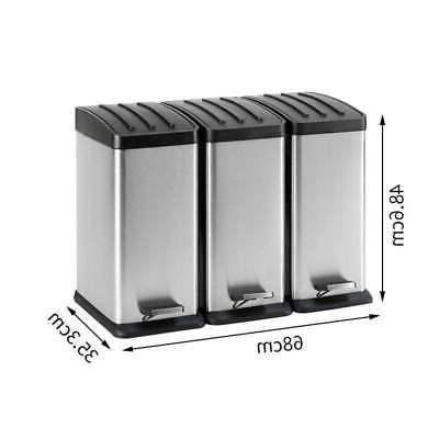 12 Gallon 3-Compartment Trash Can Recycling Bin Stainless Steel