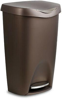 Trash Can 13 Gal. Bronze Kitchen Garbag Bin With Lid Stainle