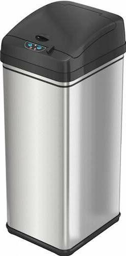 iTouchless - 13-Gal. Touchless Rectangular Trash Can - Silve