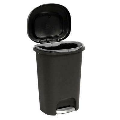 Durable Step On Trash Can Garbage Container Indoor Black