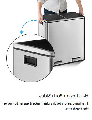 16 Gallon Trash Can Can Double Removable Compartment Close Lid