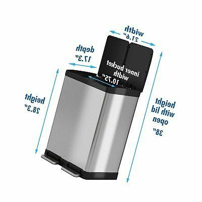 iTouchless 16 Gallon Dual Step & Recycle, Stainless Lid and