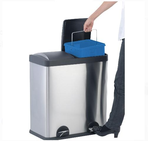 2-Compartment Trash Can Recycling Bin Gallon Hands-Free Handles NEW