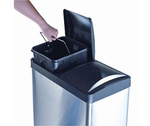 2-Compartment Trash Recycling Hands-Free Handles NEW