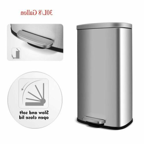 30l stainless steel step on trash can