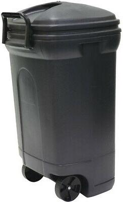 Trash Can 34 Gal. Plastic Wheeled Outdoor Heavy Duty With Li