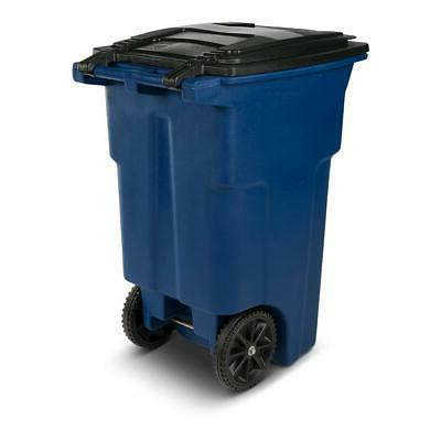 64 Blue Trash Can with Wheels and Attached