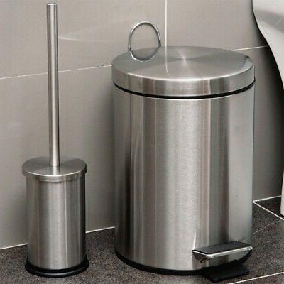 8L Bathroom Foot Pedal Bucket with Toilet Brus