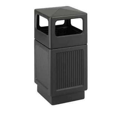 SAFCO 9476BL 38 gal. HDPE Square Trash Can, Canopy, Black
