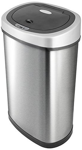 NINESTARS DZT-50-9 Touchless Infrared Motion Can, 13 Gal 50L, Stainless Steel