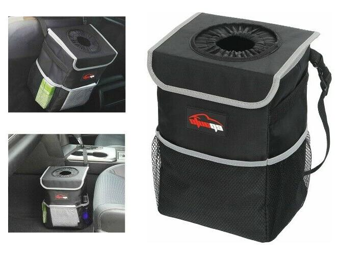 car trash can with lid pockets