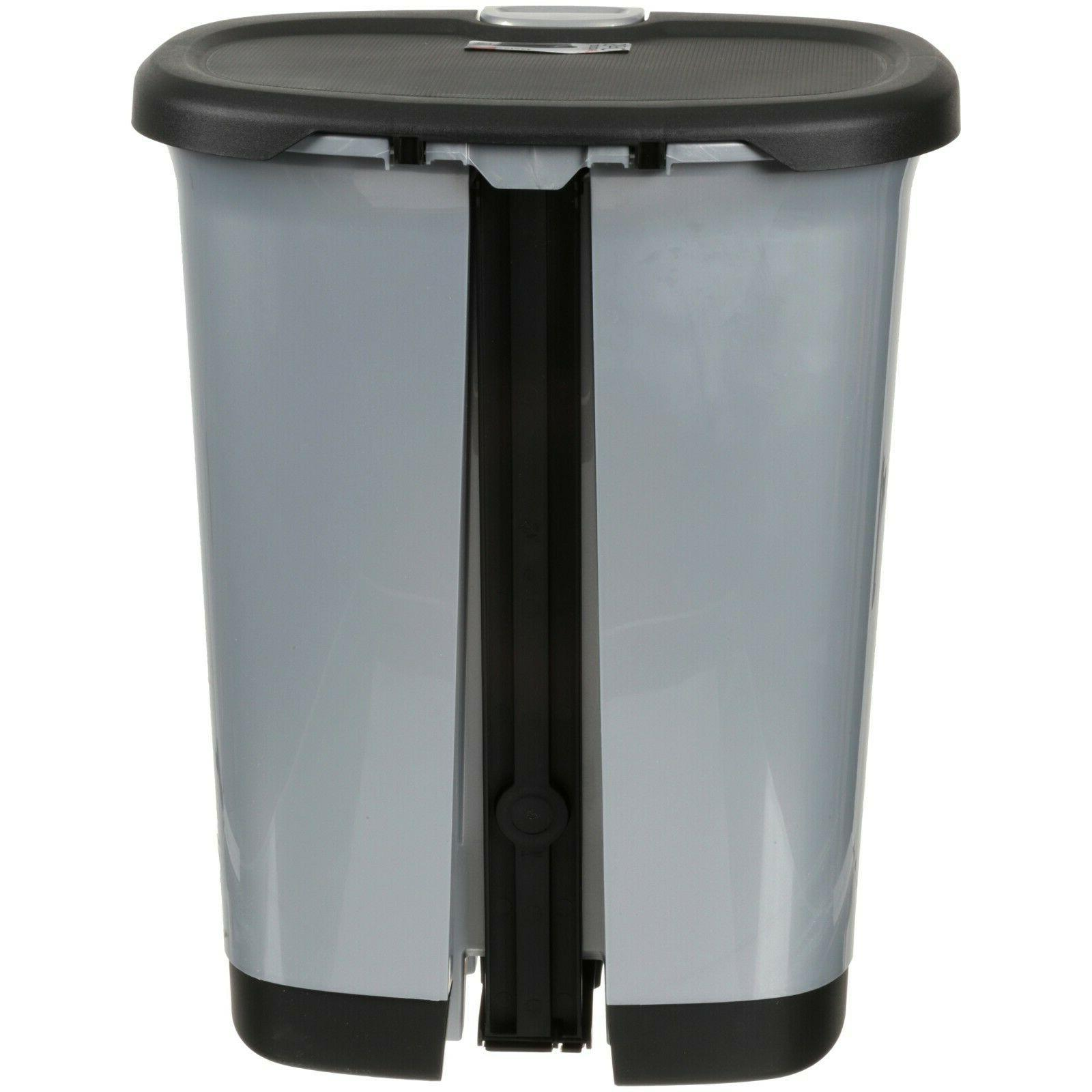 7-Gallon Textured Step-On Trash Can with and Bottom Cap,