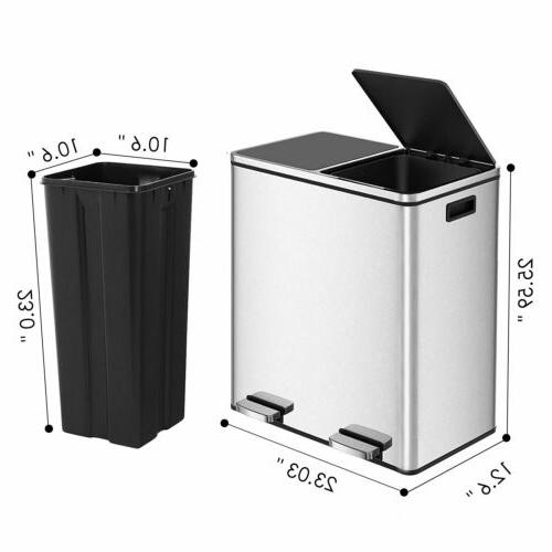 16 Dual Can Kitchen Office Step Lid
