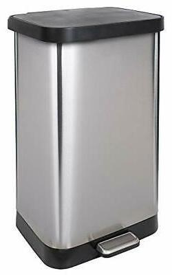 GLAD GLD-74507 Extra Capacity Stainless Steel Step Trash Can