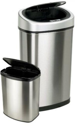 Home Garbage Can Recycling Trash Stainless Steel Kitchen Lid