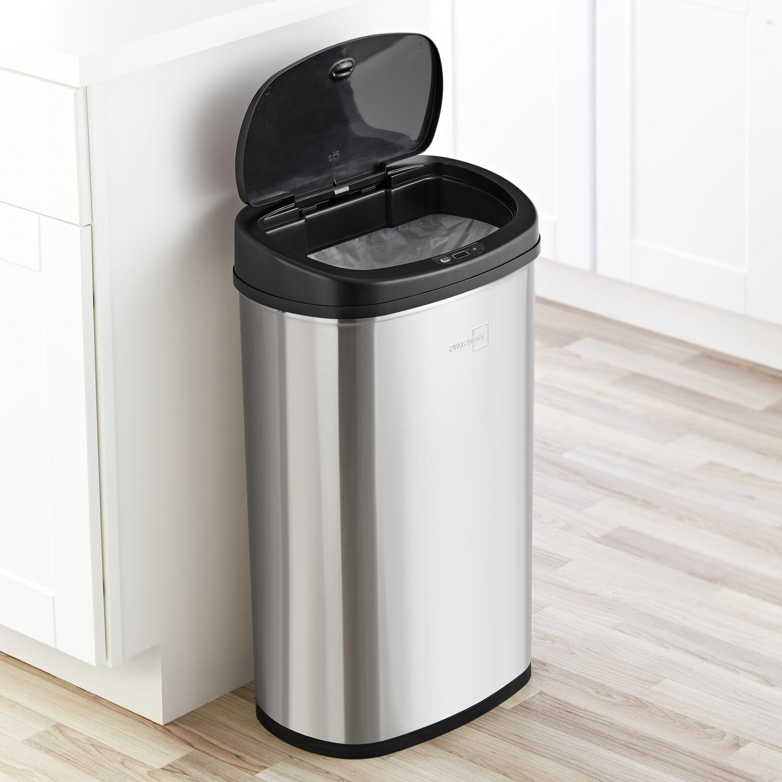 13 Gal Trash Can Motion Sensor Stainless Kitchen Garbage Hands Lid