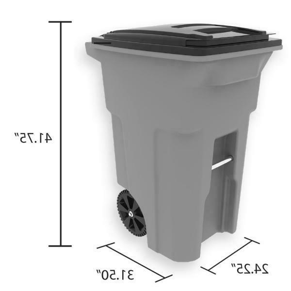 New 64 Gal. Graystone Trash Can and Attached Fast
