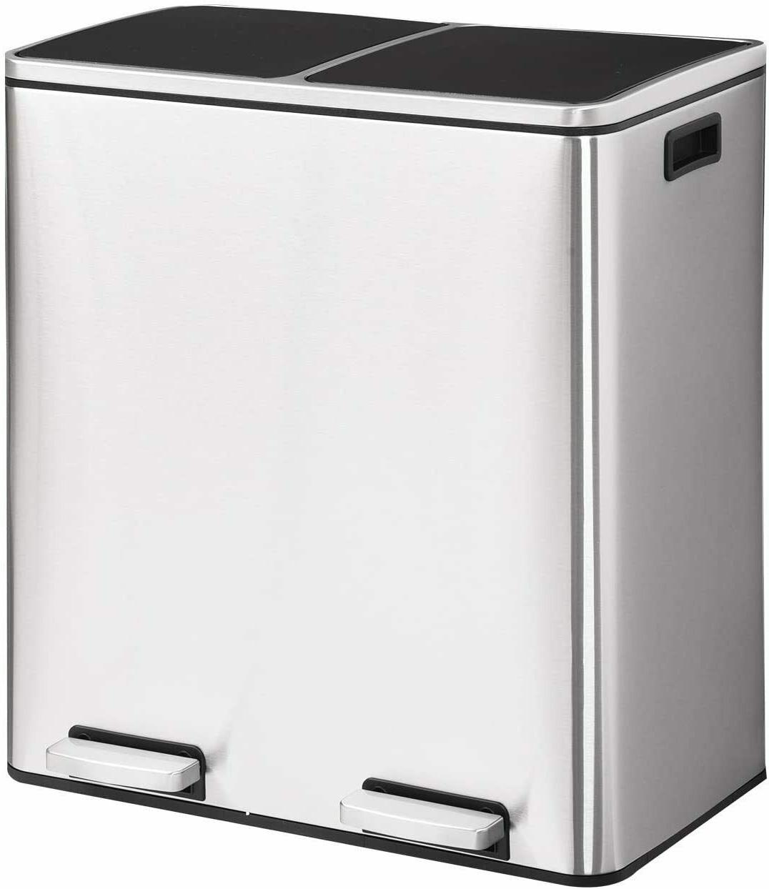 New Double barrel Stainless steel trash can with lid Room, Kitchen, Office