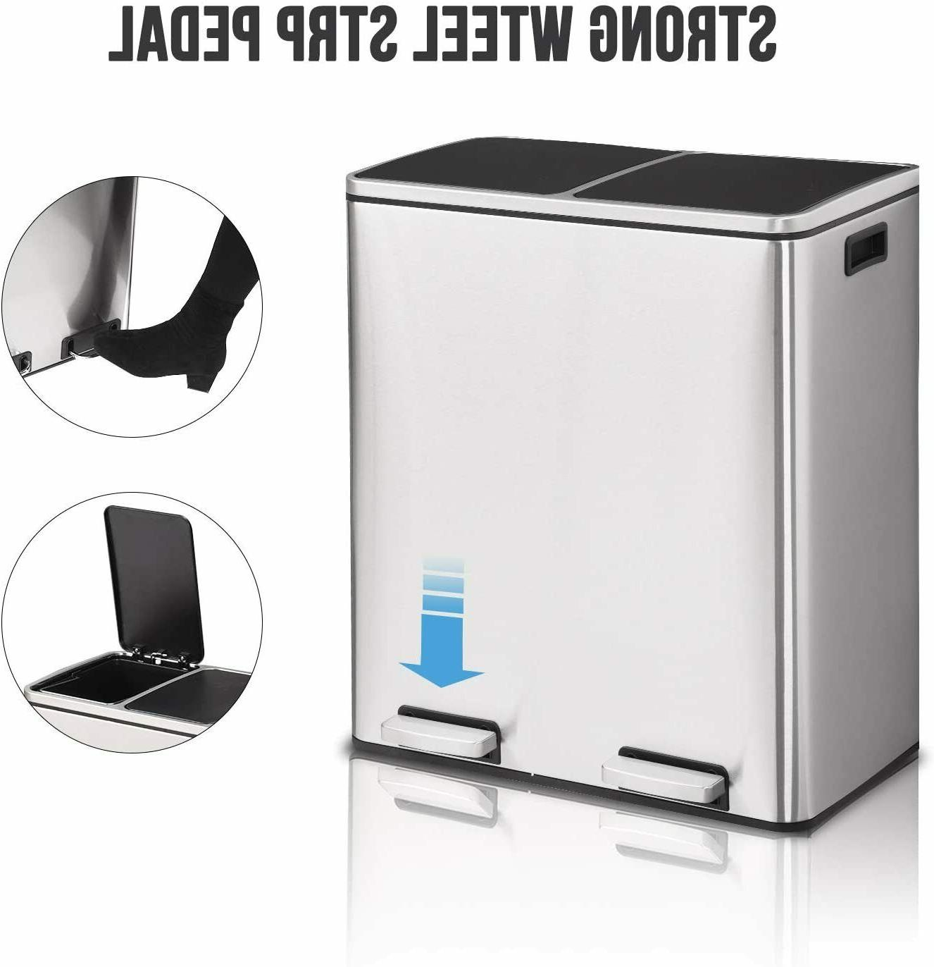 new double barrel stainless steel trash can