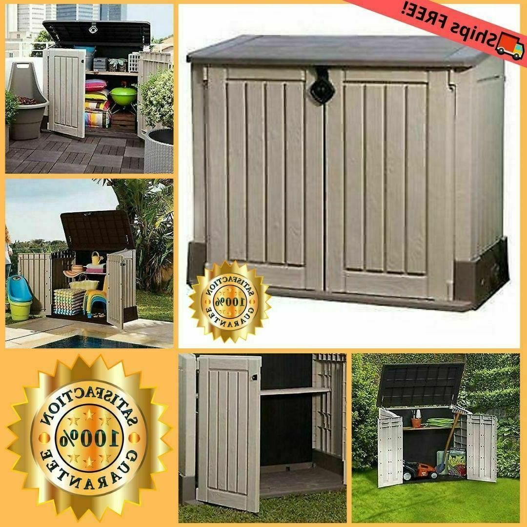 Outdoor Storage Cabinet Garden Shed Pool Trash Cans Yard Uti