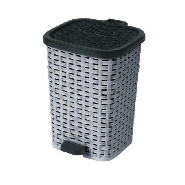 Outdoor Trash Hideaway Wicker Garbage Waste Can NEW