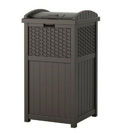 Outdoor Trash Hideaway Resin Wicker Patio Garden Garbage Was