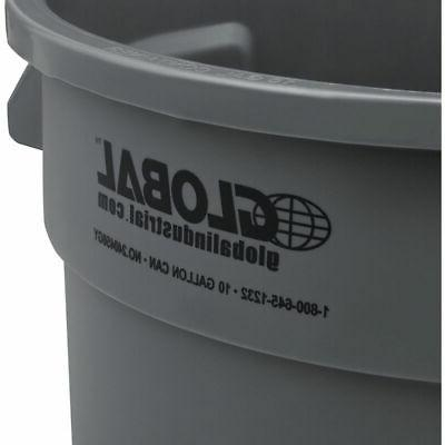 Global Trash Container, Can 10 Gallon Gray